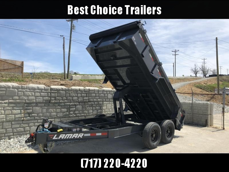 2019 Lamar 7x14' Dump Trailer 14000# GVW - DELUXE * TARP * RAMPS * SPARE MOUNT *  12K JACK *  CHARCOAL WITH BLACK WHEELS