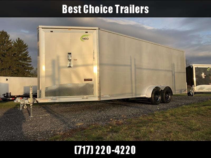 "2019 Neo 7x24' Aluminum Enclosed Snowmobile All-Sport Trailer * FRONT RAMP * NXP LATCHES * FLOOR TIE DOWN SYSTEM * REAR JACKSTANDS * UPGRADED 16"" OC FLOOR * UPPER CABINET * 7' HEIGHT UPGRADE * 16"" OC WALLS"