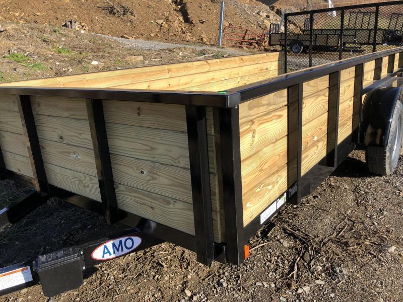 "2019 AMO 76""x16' Wood High Side Angle Iron Utility Landscape Trailer 7000# GVW"