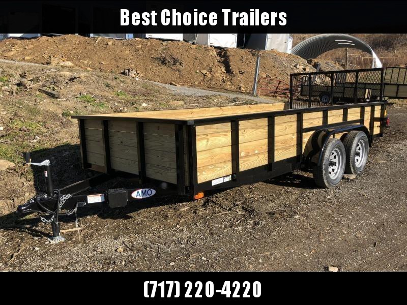 "2019 AMO 76""x16' Wood High Side Angle Iron Utility Landscape Trailer 7000# GVW"