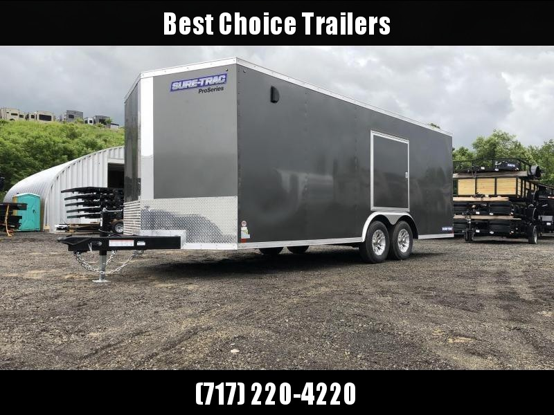 "2019 Sure-Trac 8.5x24' Enclosed Car Trailer 9900# GVW * DELUXE * SILVER * 7K JACK * ESCAPE HATCH * FINISHED WALLS * NUDO FLOOR & RAMP * TORSION * 48"" DOOR & MORE"