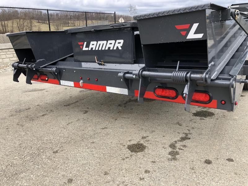 "2019 Lamar 102x23+5' Gooseneck Beavertail Deckover Trailer 21000# * 2 FLIPOVER RAMPS + POP UP DOVE * SIDE TOOLBOX * CHARCOAL * 12"" BEAM * FRONT TOOLBOX / DUAL JACKS"