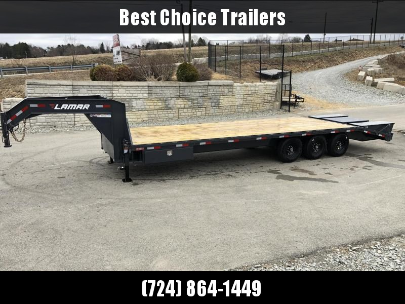 "2019 Lamar 102x23+5' Gooseneck Beavertail Deckover Trailer 21000# * 2 FLIPOVER RAMPS + POP UP DOVE * SIDE TOOLBOX * CHARCOAL * 12"" BEAM * FRONT TOOLBOX / DUAL JACKS in Ashburn, VA"