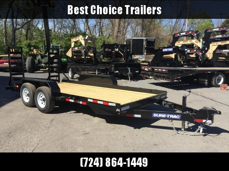 2018 Sure-Trac 7'x16' Skidsteer Equipment Trailer 9900# LOW LOAD ANGLE * ADJUSTABLE COUPLER