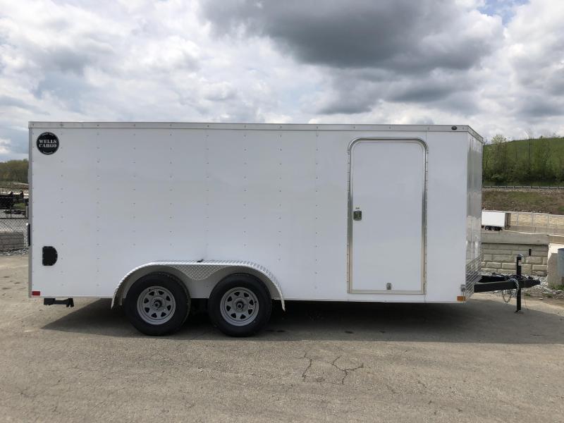2018 Wells Cargo 7x16' VG300 Enclosed Cargo Trailer 7000# GVW * WHITE * CLEARANCE - FREE ALUMINUM WHEELS