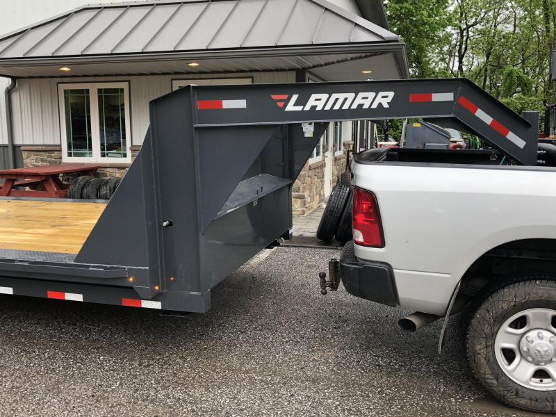 """2018 Lamar 102""""x34' Gooseneck Car Trailer 14000# GVW * CHARCOAL * 102"""" DECK * DRIVE OVER FENDERS * OVERLENGTH RAMPS * 14-PLY RUBBER * CLEARANCE"""