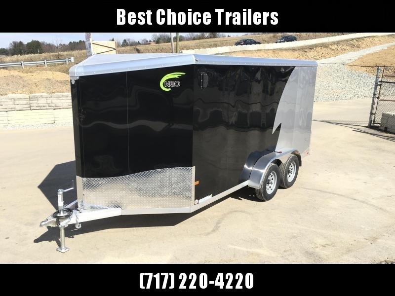 "2019 Neo 7x16 NAMR Aluminum Enclosed Motorcycle Trailer * VINYL WALLS * ALUMINUM WHEELS * +6"" HEIGHT"