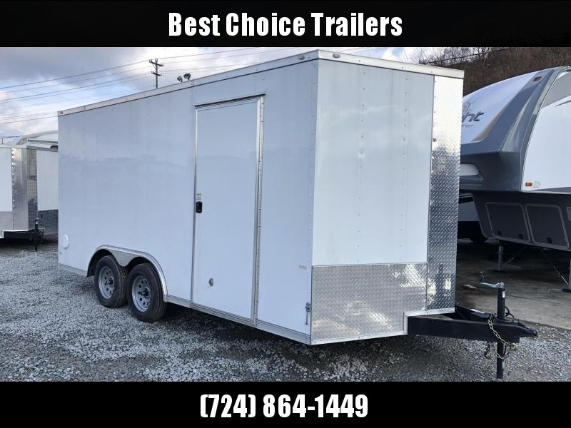 2019 Rock Solid 8x16' Enclosed Car Hauler Trailer 7000# GVW RS816TA * WHITE * ATP FENDERS * V-NOSE * RAMP DOOR * 7' HEIGHT - UTV PKG