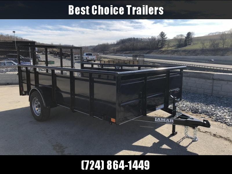 "2018 Lamar 77""x12' Steel High Side Utility Trailer 2990# GVW * PIPE TOP * 2' SOLID SIDES * DROP LEG JACK * CAST COUPLER * CHARCOAL * TUBE GATE"