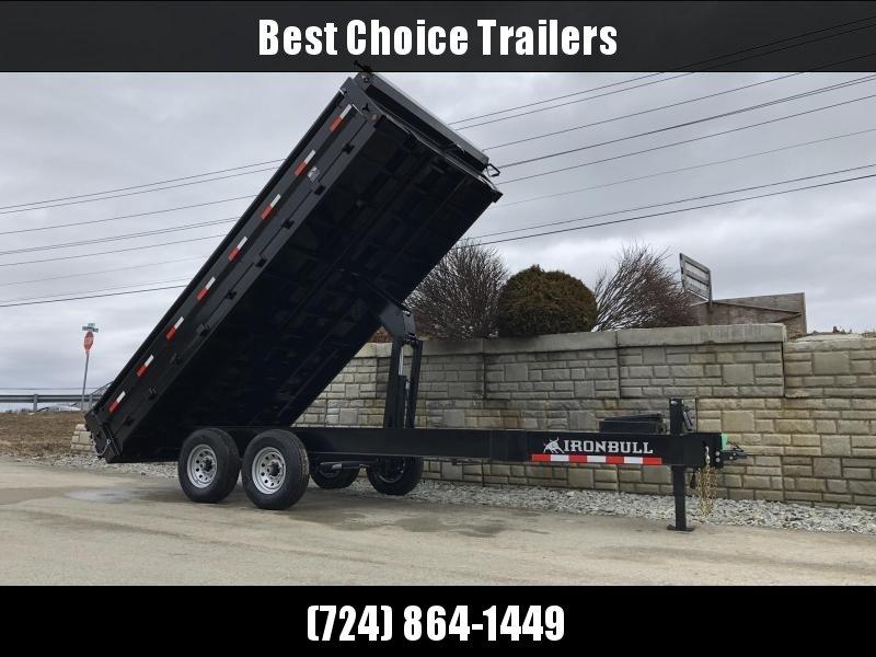 2019 Iron Bull 8x16' 14000# GVW Deckover Dump Trailer * TARP KIT * SCISSOR HOIST * I-BEAM FRAME * 12K JACK * HD COUPLER * FOLD DOWN SIDES
