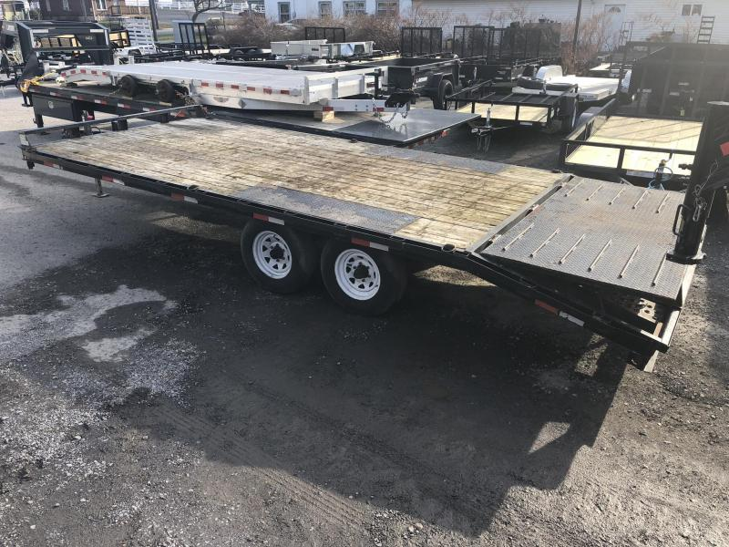 USED 2016 Sure Trac 102x16+4 Flatbed Deckover w/ Pop Up Dovetail 9900# GVW * Slide In ramps
