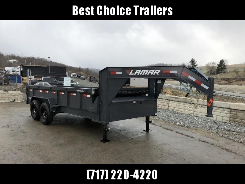 "2019 Lamar 7x16' Gooseneck Dump Trailer 16000# GVW * 8000# AXLE UPGRADE * 17.5"" RUBBER & SPARE * 7 GAUGE FLOOR * HD SCISSOR * TARP KIT * DUAL JACKS * I-BEAM FRAME * CHARCOAL * VOLTAGE METER * REAR JACK STANDS"