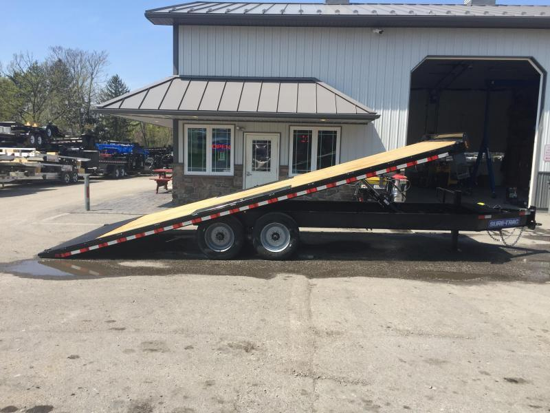 2018 Sure-Trac 102x22' 17600# Low Profile Power Tilt Deckover 8K AXLE UPGRADE * OIL BATH * 2ND JACK *  MUD FLAPS