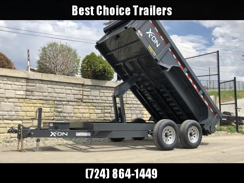 2019 X-on 6X12' Low Profile Dump Trailer 9990# GVW * TARP KIT * SCISSOR * 3 WAY GATE * 10 GA SIDES & FLOOR * 110V CHARGER * CAST COUPLER * DROP LEG JACK
