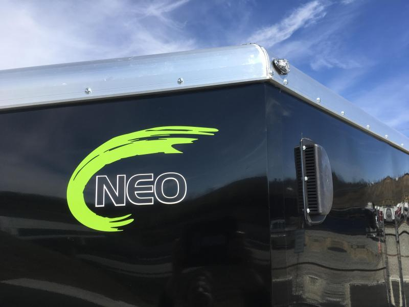 "2019 Neo 7x14 NAMR Aluminum Enclosed Motorcycle Trailer * VINYL WALLS * ALUMINUM WHEELS * +6"" HEIGHT * NUDO FLOOR & RAMP * BLACK & SILVER"