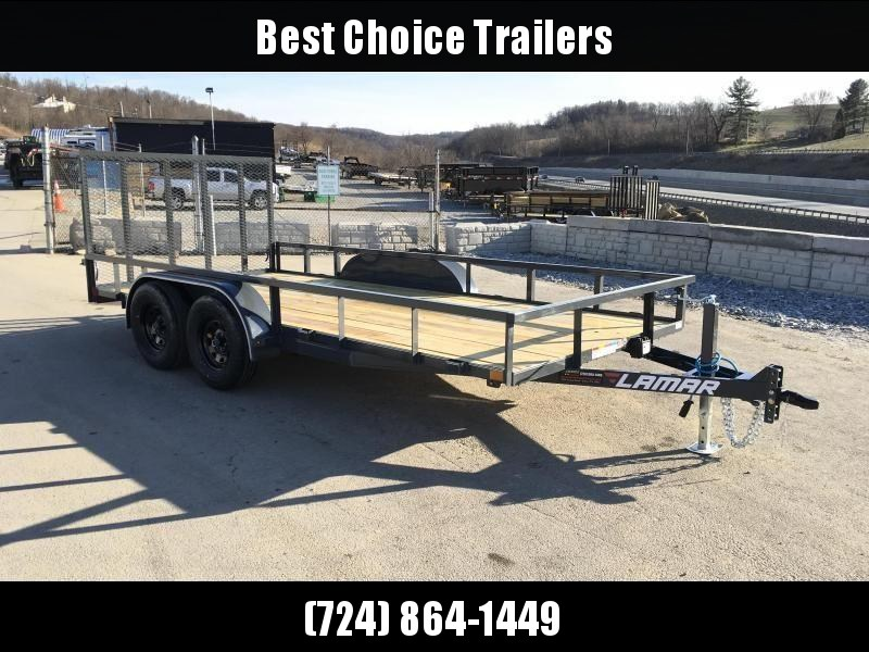 2018 Lamar 7x16' Tube Top Utility Landscape Trailer 7000# GVW DELUXE * TUBE TOP * TUBE GATE * DROP LEG JACK * ADJUSTABLE COUPLER * CHARCOAL