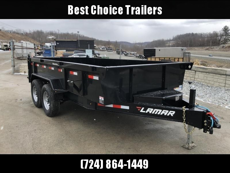 "2019 Lamar 7x14' Dump Trailer 14000# GVW *  7 GAUGE FLOOR UPGRADE * 14-PLY RUBBER * 12"" O.C CROSSMEBERS * RIGID RAIL * SCISSOR * I-BEAM FRAME"
