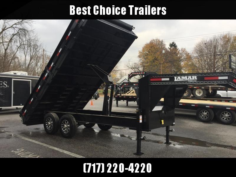 2018 Lamar 8x16' Gooseneck Deckover Dump Trailer 14000# GVW * 7 GAUGE FLOOR * SCISSOR * TARP * SPARE * DUAL JACKS * I-BEAM FRAME * FOLD DOWN SIDES