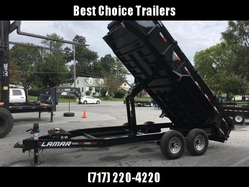 2019 Lamar 7x16' Dump Trailer 14000# GVW * TARP KIT *  RAMPS * 12K JACK * 7 GAUGE FLOOR * I-BEAM FRAME * CHARCOAL * 14-PLY RUBBER