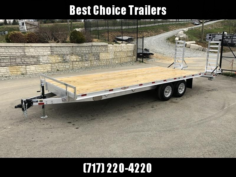2019 H&H 102x20+4 Aluminum Beavertail Deckover Flatbed Trailer 14000# GVW * ALUMINUM STAND UP RAMPS