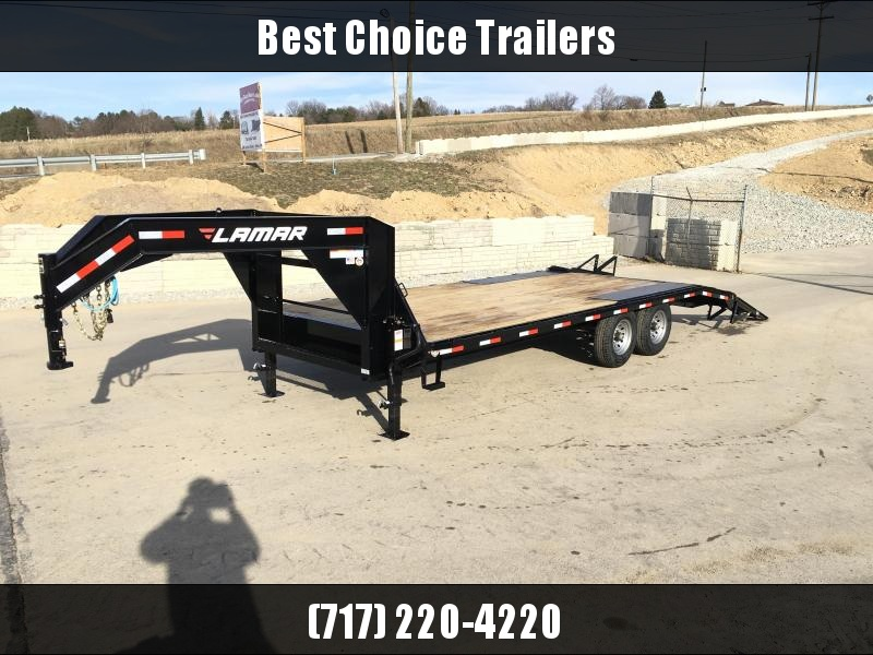2018 Lamar 102x18+4' Gooseneck Beavertail Deckover Trailer 14000# STAND UP RAMPS