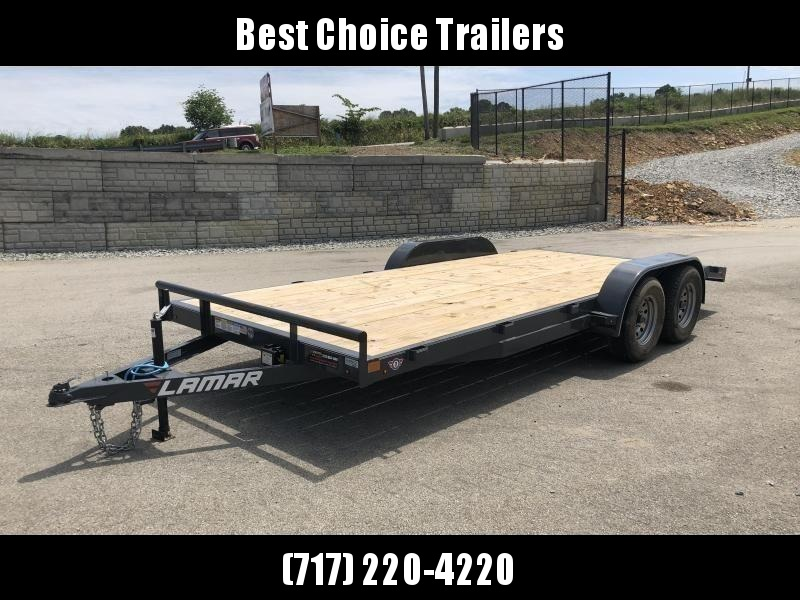 2019 Lamar 7x18 7000# Wood Deck Car Hauler Trailer * REMOVABLE FENDERS * EXTRA STAKE POCKETS * CHARCOAL * CLEARANCE - FREE SPARE TIRE