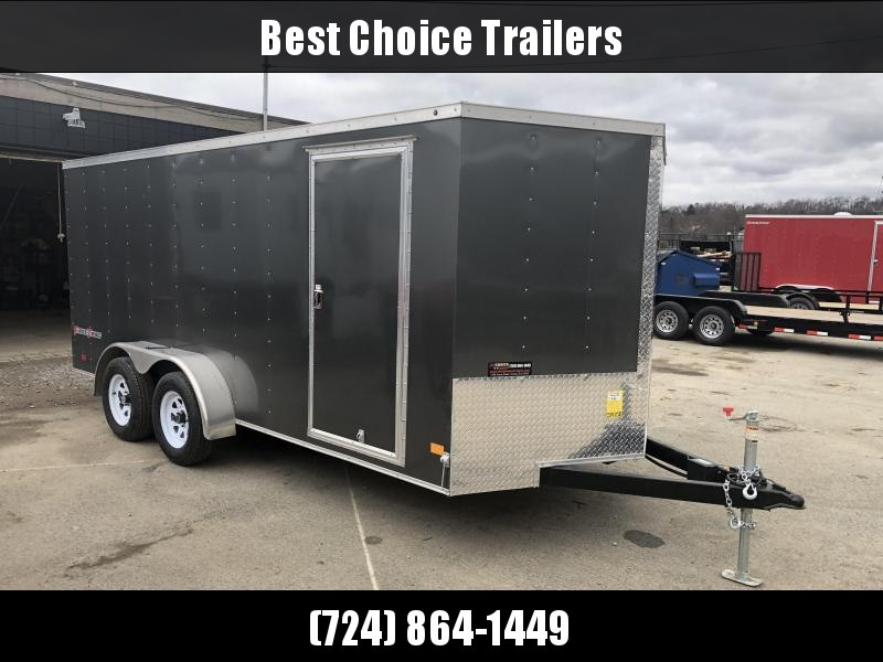 2019 Wells Cargo 7x16' Fastrac Enclosed Cargo Trailer 7000# GVW * CHARCOAL * RAMP DOOR * V-NOSE