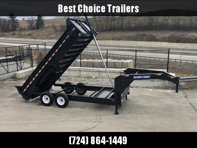 2019 Sure-Trac 7x16' 14000# Low Profile HD GOOSENECK Dump Trailer * TELESCOPIC HOIST