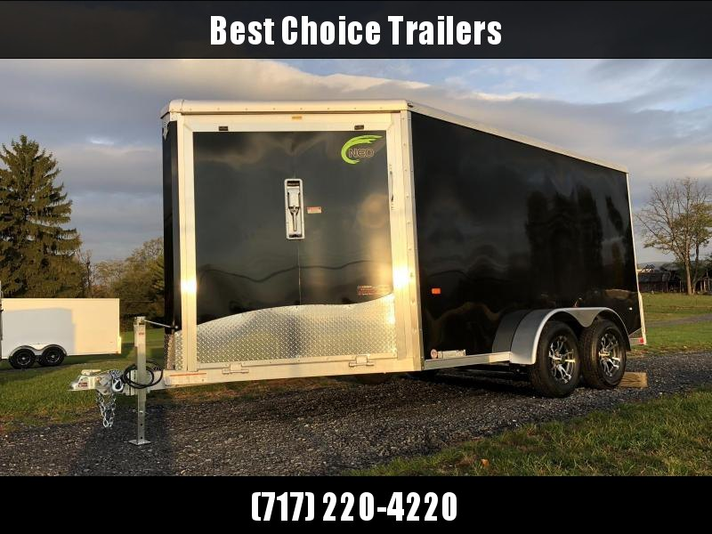 "2019 Neo 7x16' Aluminum Enclosed Snowmobile All-Sport Trailer * 2-SLED * BLACK * FRONT RAMP * NXP LATCHES * FLOOR TIE DOWN SYSTEM * REAR JACKSTANDS * UPGRADED 16"" OC FLOOR * UPPER CABINET"