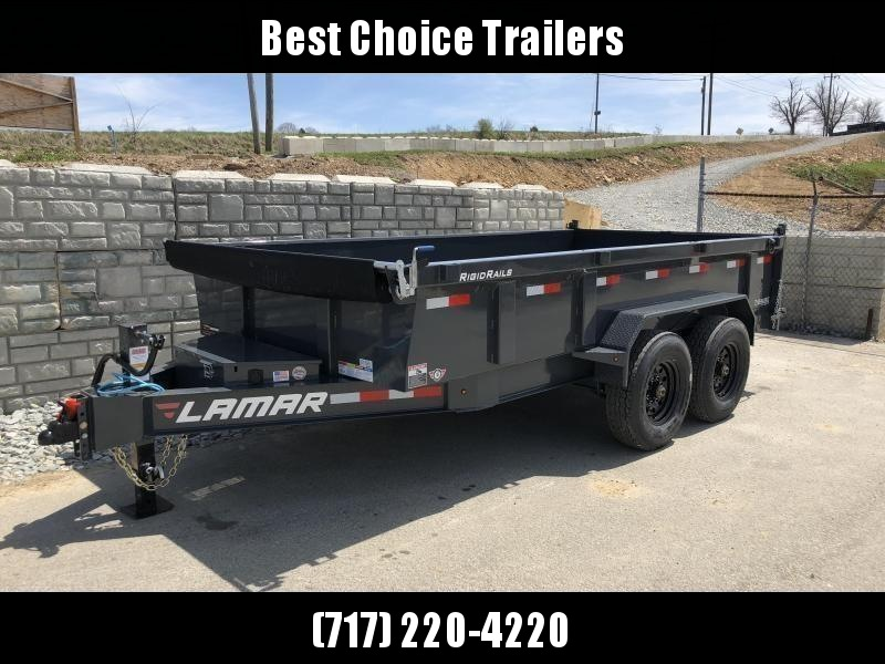 2018 Lamar 7x14' Dump Trailer 14000# GVW - DELUXE * TARP * RAMPS * SPARE MOUNT * 14-PLY TIRE UPGRADE *  12K JACK *  CHARCOAL WITH BLACK WHEELS * OIL BATH HUBS * CLEARANCE