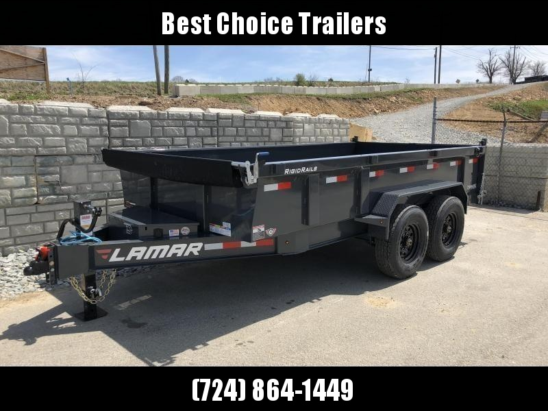 2018 Lamar 7x14' Dump Trailer 14000# GVW - DELUXE * TARP * RAMPS * SPARE MOUNT * 14-PLY TIRE UPGRADE *  12K JACK *  CHARCOAL WITH BLACK WHEELS * OIL BATH HUBS