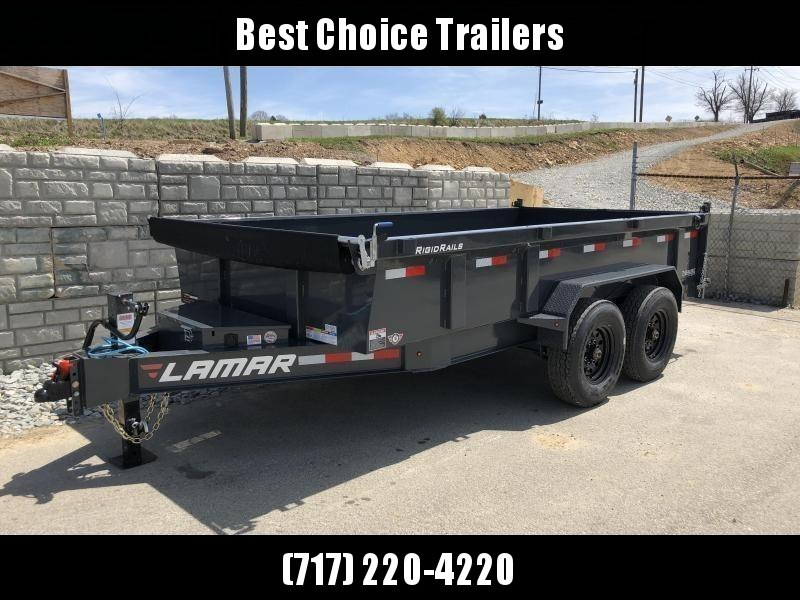 2018 Lamar 7x14' Dump Trailer 14000# GVW - DELUXE * TARP * RAMPS * SPARE MOUNT *  SPARE TIRE * 14-PLY TIRE UPGRADE *  12K JACK *  CHARCOAL WITH BLACK WHEELS * OIL BATH HUBS * CLEARANCE in Ashburn, VA