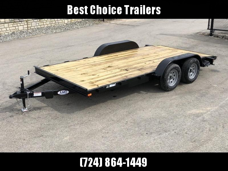 2019 AMO 7x16' Wood Deck Car Trailer 7000# GVW * LED tails