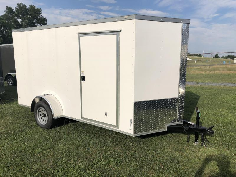 2018 Rock Solid 6x10' Enclosed Cargo Trailer 2990# GVW * WHITE * RAMP * VNOSE