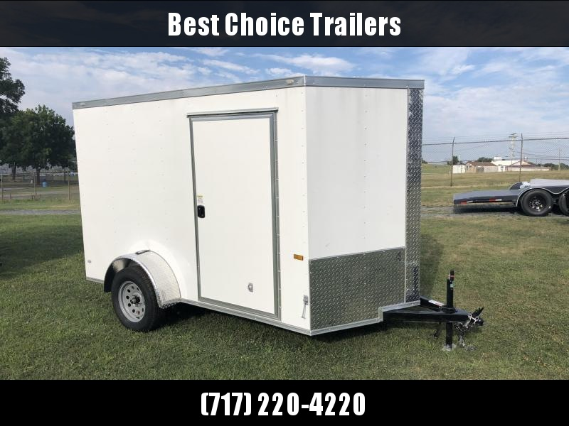 2018 Rock Solid 6x10' Enclosed Cargo Trailer 2990# GVW * WHITE * RAMP * VNOSE
