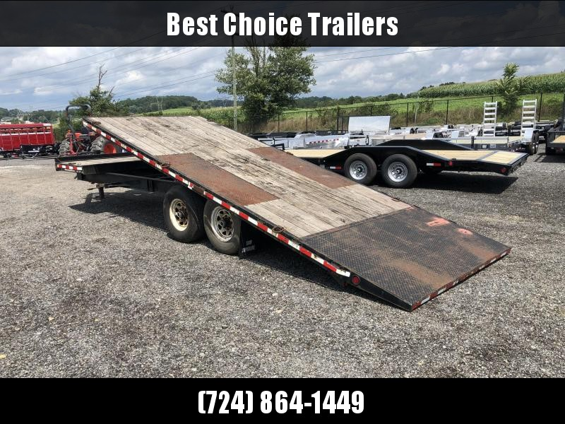 USED 2008 Cam Superline 102x20+4 Deckover Gravity Tilt Trailer * GRAVITY TILT * SPARE TIRE * FRONT TOOLBOX * HD COUPLER * SPLIT DECK