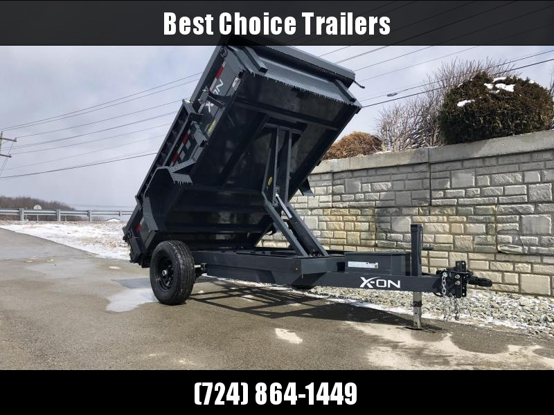 2019 X-on 6X10' Low Profile Dump Trailer 5000# GVW * TARP KIT * SCISSOR * 3 WAY GATE * 10 GA SIDES & FLOOR * 110V CHARGER * CAST COUPLER * DROP LEG JACK