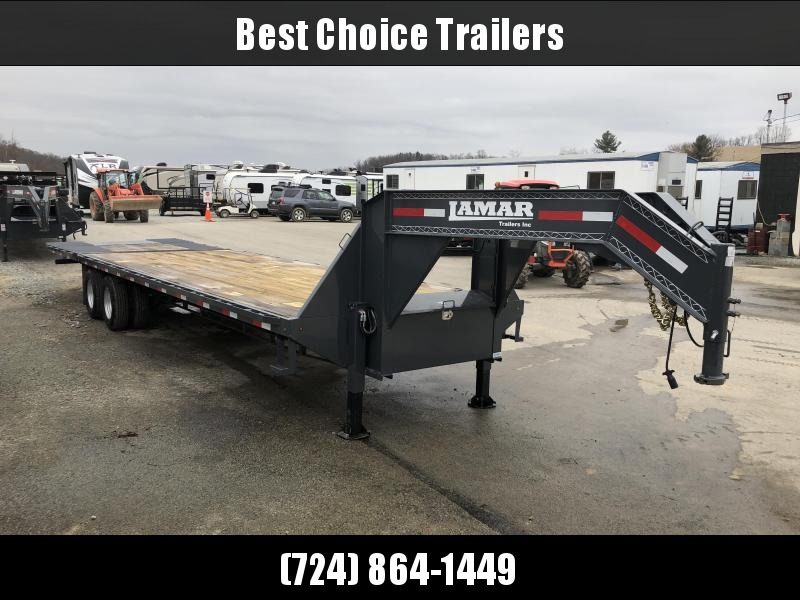 "2017 Lamar 102""x23+9' Gooseneck Deckover Trailer 20000# GVW - HYDRAULIC DOVETAIL * HYDRAULIC BRAKES * HYDRAULIC JACKS * CHARCOAL POWDERCOAT * SELF CLEANING TAIL"