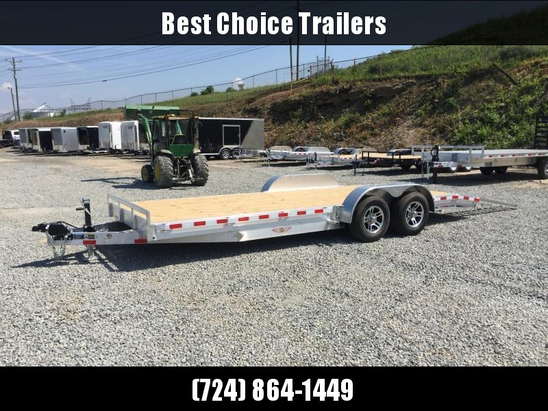 "2017 H&H 7x20' 9990# Low Profile Aluminum Car Hauler HEAVY DUTY TORSION AXLES DROP AXLES 8"" FRAME - CLEARANCE"