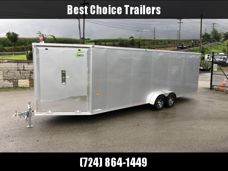 2020 Neo 7x28' Aluminum Enclosed All-Sport Trailer * 7' HEIGHT - UTV PKG * SILVER * FRONT RAMP * LOADED * UTV * ATV * Motorcycle * Snowmobile