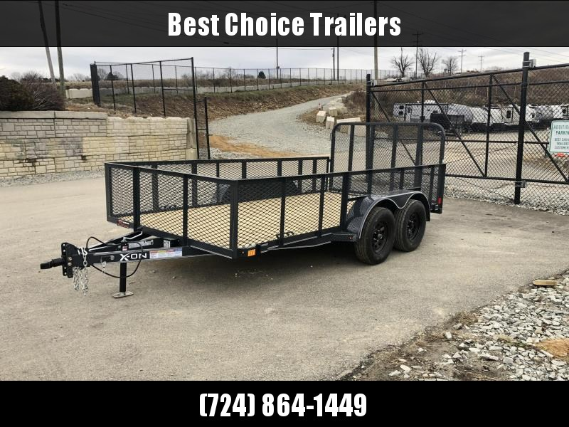 2019 X-on 7x14' Tandem Axle High Side Utility Landscape Trailer 7000# GVW * 2' HIGH SIDES * EXPANDED MESH SIDES * 4' HD GATE W/ SPRING ASSIST * CHARCOAL