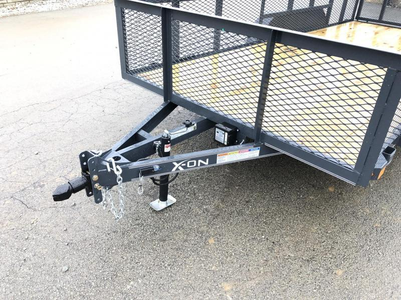 2019 X-on 7x14' Tandem Axle High Side Utility Landscape Trailer 2990# GVW * 2' HIGH SIDES * EXPANDED MESH SIDES * 4' HD GATE W/ SPRING ASSIST * CHARCOAL
