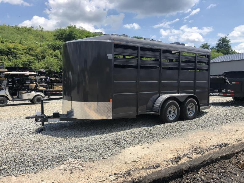 2019 Delta 16' Livestock Trailer 7000# GVW * GREY * CENTER GATE * ESCAPE DOOR * DEXTER