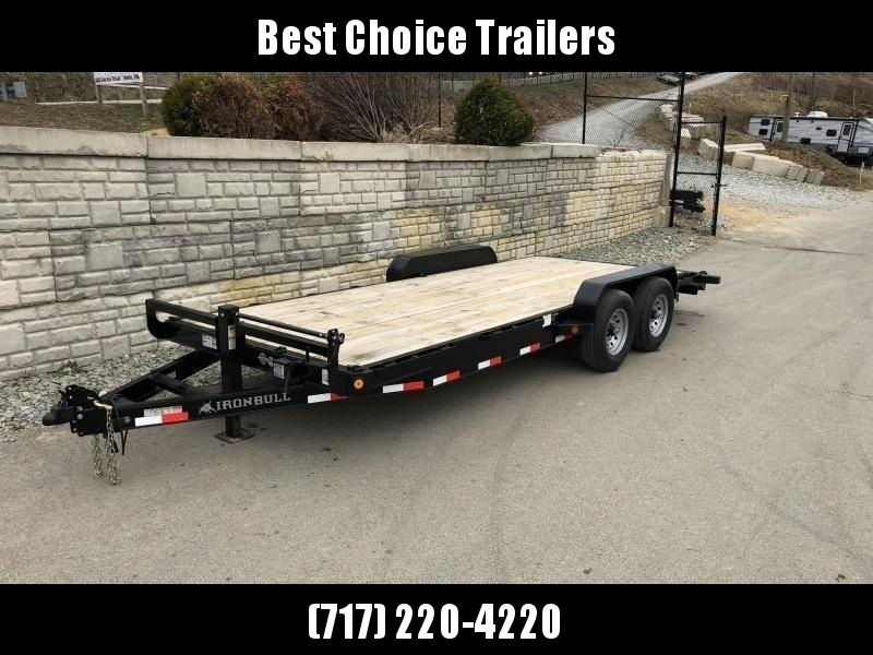 2019 Ironbull 7x22' Wood Deck Car Trailer 14000# GVW * OVERWIDTH RAMPS * CHANNEL C/M * RUBRAIL/STAKE POCKETS/PIPE SPOOLS/D-RINGS