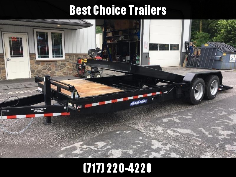 2018 Sure Trac Gravity Tilt Equipment Trailer 7'X16+4' 16000# OAK DECKING