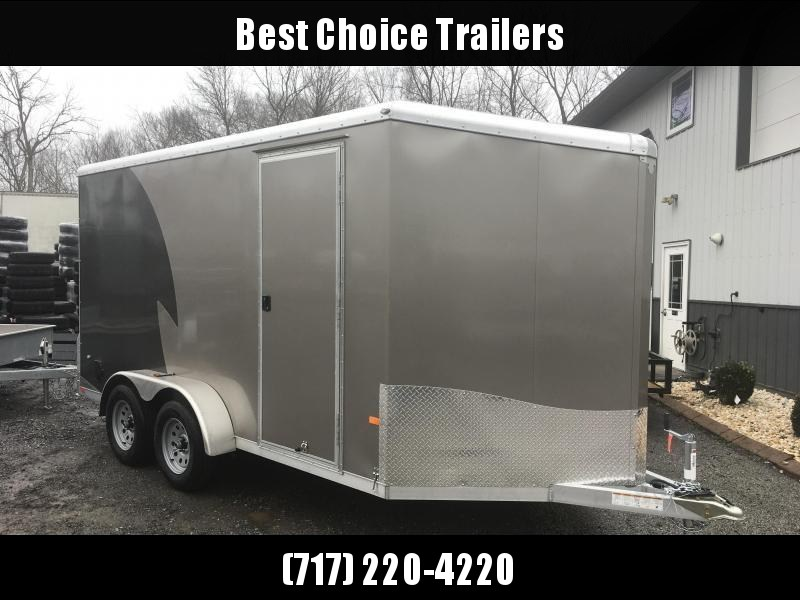 "2019 Neo 7x14 NAMR Aluminum Enclosed Motorcycle Trailer * CHARCOAL AND PEWTER * WHITE WALLS * ALUMINUM WHEELS * +6"" HEIGHT"