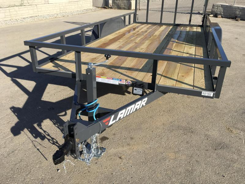 2018 Lamar 7x14' Tube Top Utility Trailer 7000# GVW DELUXE * TUBE TOP * TUBE GATE * DROP LEG JACK * ADJUSTABLE COUPLER * CHARCOAL * CLEARANCE - FREE SPARE TIRE