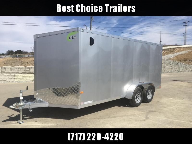 2019 Neo 7x14 NAVF Aluminum Enclosed Cargo Trailer * RAMP DOOR * SILVER