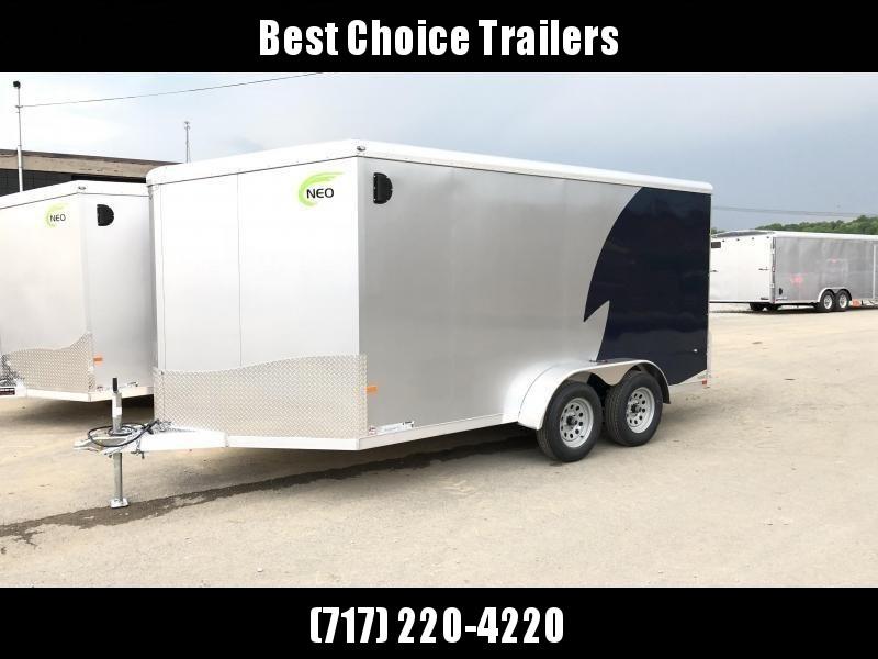 "2019 NEO Trailers 7x12' NAMR Aluminum Enclosed Motorcycle Trailer * SINGLE AXLE * INDIGO & SILVER * VINYL WALLS * ALUMINUM WHEELS * +6"" HEIGHT"