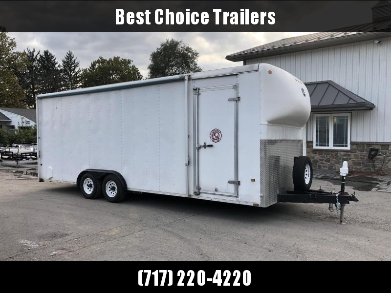 USED Wells Cargo 8.5x24' 9990# Enclosed Race Trailer * TORSION * AWNING * FINISHED WALLS/CEILING/FLOOR * EXTRA HEIGHT * IN FLOOR COMPARTMENT * NEW TIRES * SPARE * ELECTRIC TONGUE JACK * ESCAPE HATCH